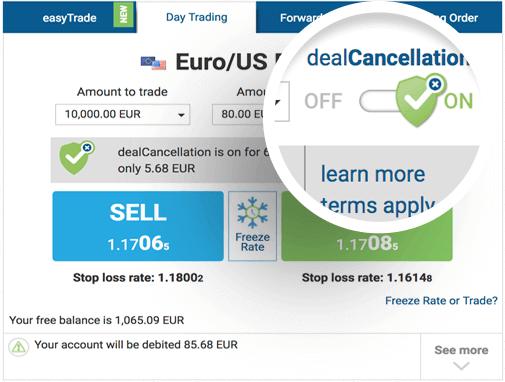 easyMarkets dealCancellation Feature