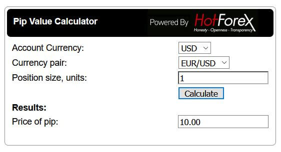 How to calculate pip value